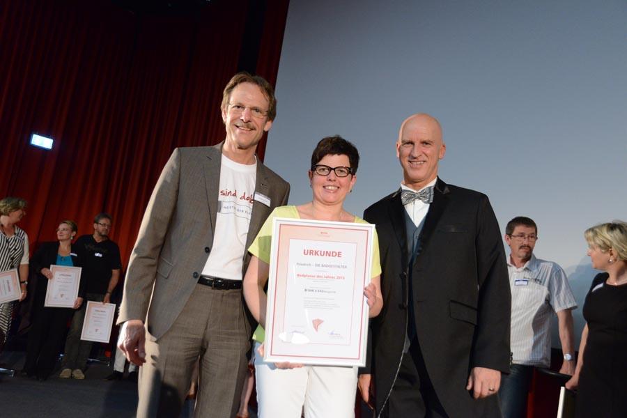 SHK 25. Jahreshauptversammlung, Preisverleihung Badplaner 2013, Holger Kachel, Nicole Schumacher, Michael Hoffmann (v.l.n.r.)