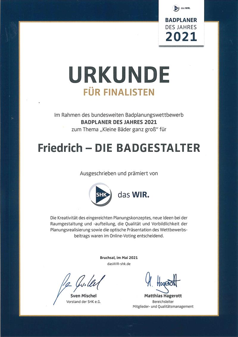 Friedrich - DIE BADGESTALTER: Badplaner des Jahres 2021